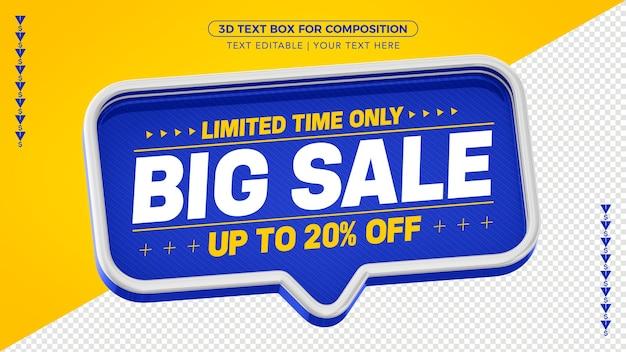 Blue sale text box met tot 40% korting voor compositie Premium Psd