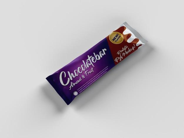 Bocadillo de barra de chocolate realista maqueta de empaquetado brillante doff vista de colocación