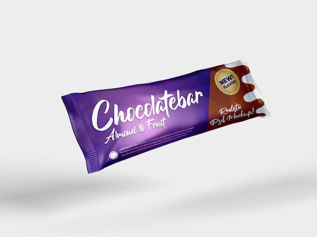 Bocadillo de barra de chocolate realista, maqueta de empaquetado brillante, vista lateral voladora