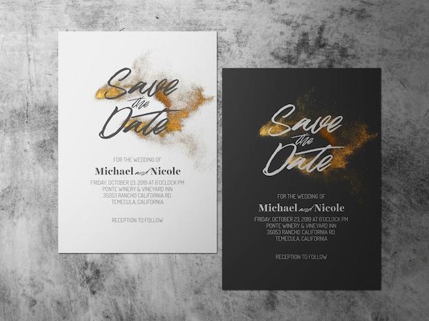 Boda reserva la fecha, una tarjeta de tema blanco oro negro frente a uno