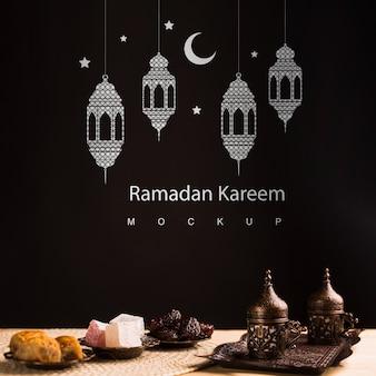 Bodegón de ramadán con copyspace