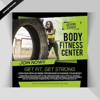 Body fitness instagram post o plantilla de volante cuadrado