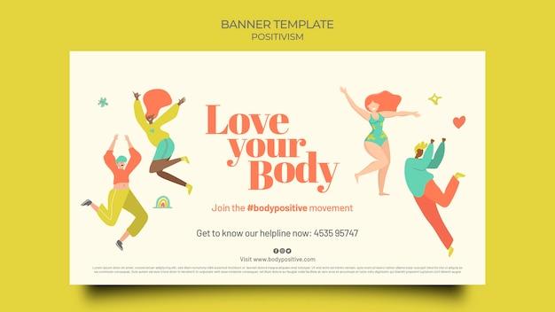 Body positieve horizontale banner sjabloon