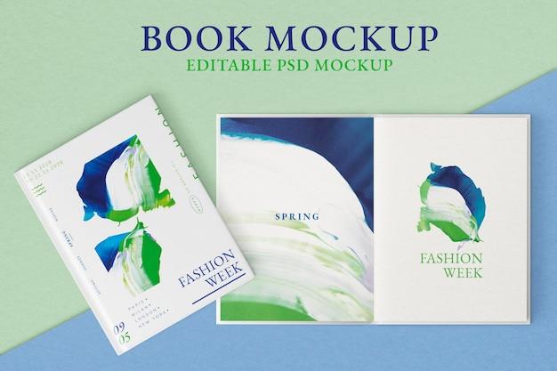 Boek mockups psd, bewerkbaar kleurveranderlijk ontwerp