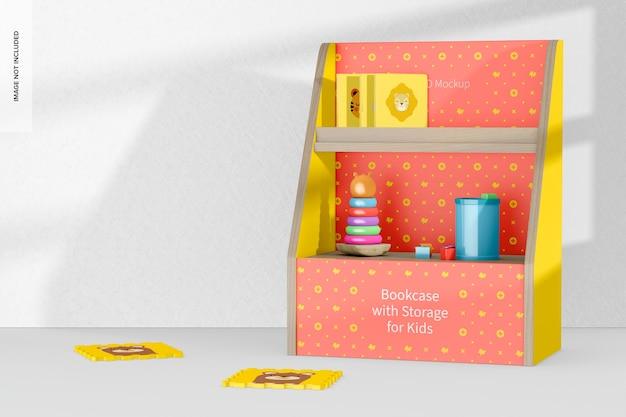 Boekenkast met opbergruimte voor kinderen mockup, perspectief