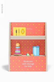Boekenkast met opbergruimte voor kindermodel, vooraanzicht