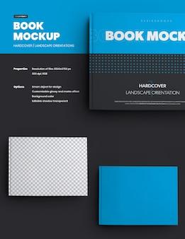 Boekmodellen harde kaft liggende oriëntatie. het ontwerp is eenvoudig in het aanpassen van het ontwerp van afbeeldingen op omslag, rug en pagina's