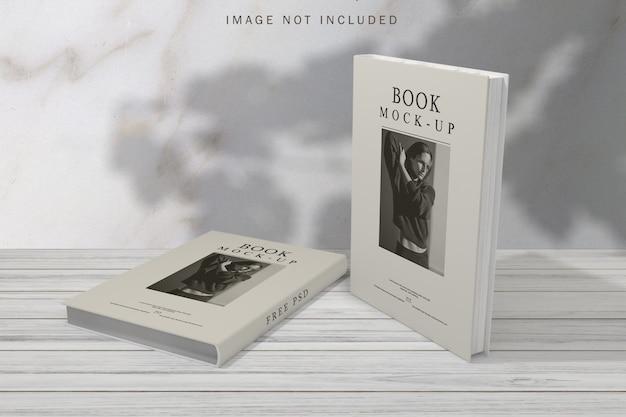 Boekomslag mockup met schaduw overlay achtergrond
