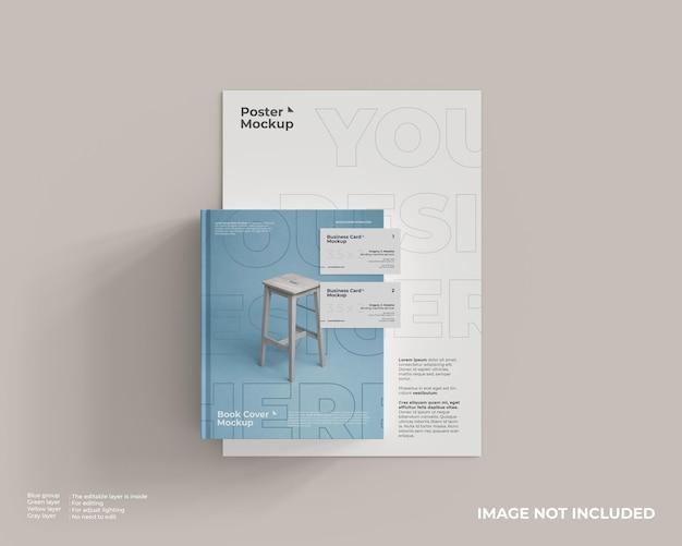 Boekomslagmodel met poster en visitekaartje