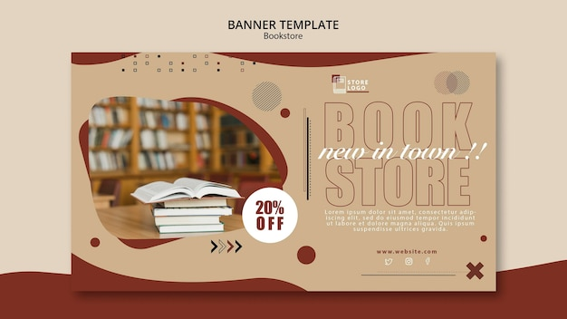 Boekwinkel advertentie sjabloon voor spandoek