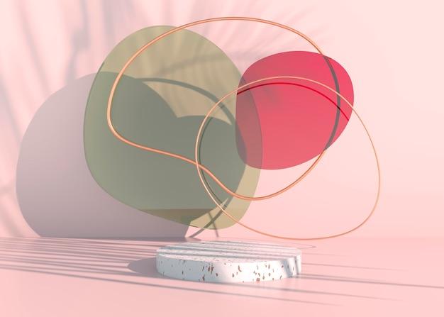 Boho podium met palmbladeren schaduwen en pastelkleuren voor cosmetische productpresentatie.