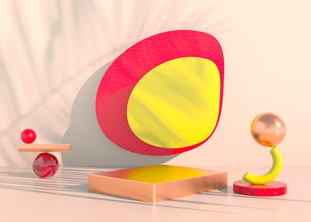 Boho-podium met palmbladerenschaduwen en pastelkleuren voor de presentatie van cosmetische producten. lege showcase sokkel achtergrond mock up. 3d. Premium Psd