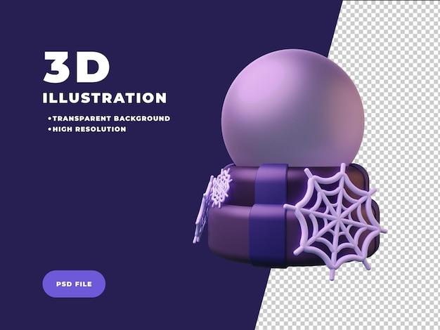 Bola mágica con ilustración 3d de telarañas
