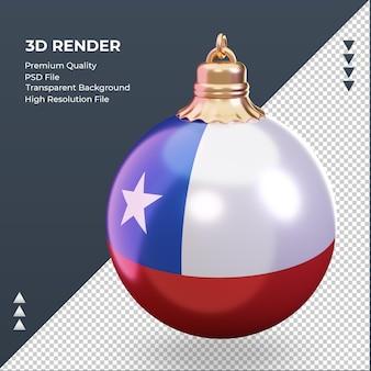 Bola de navidad 3d bandera de chile renderizado vista derecha