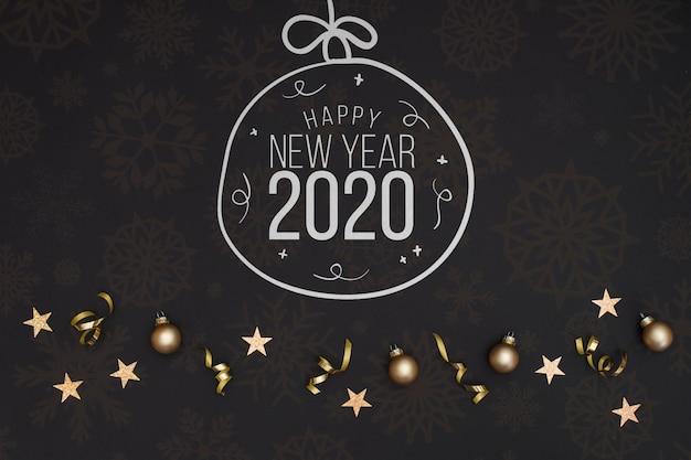 Bola de navidad de doodle de pizarra blanca con texto de año nuevo 2020