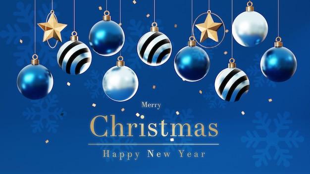 Bolas de navidad 3d con árbol de navidad