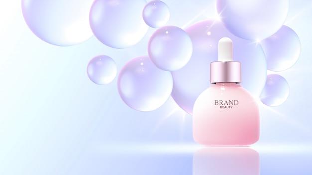Bolle d'acqua realistiche con prodotto di bellezza
