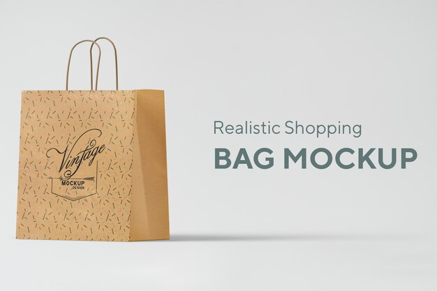 Bolsa de compras realista maqueta psd