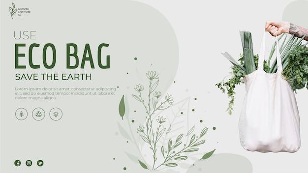 Bolsa ecológica para verduras y pancarta de compras