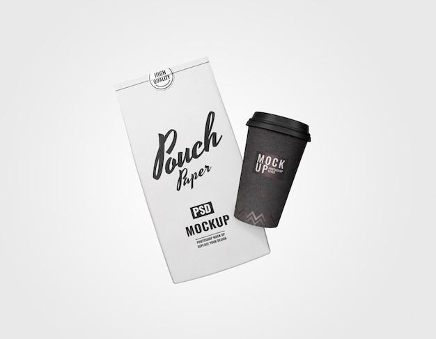 Bolsa mínima y conjunto de tazas de publicidad maqueta