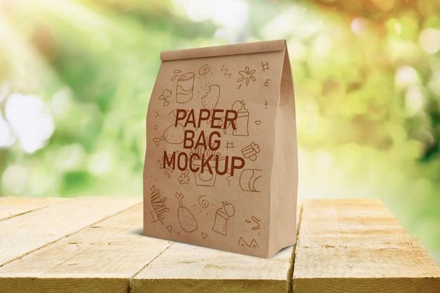 Bolsa de papel de comida rápida maqueta
