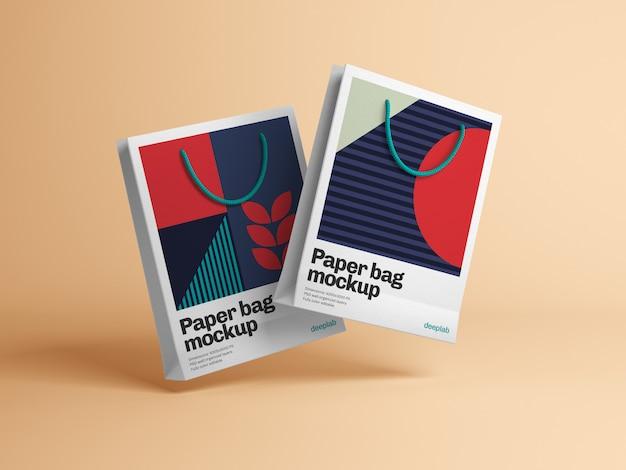 Bolsa de papel con diseño editable maqueta psd