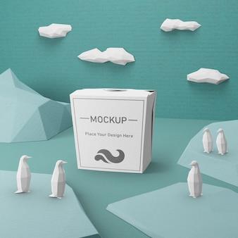 Bolsa de papel kraft con concepto de maqueta