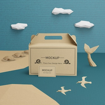 Bolsa de papel kraft para el día del océano con maqueta