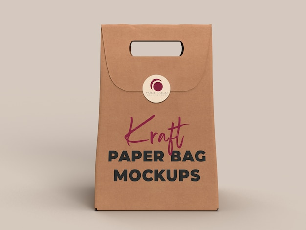 Bolsa de papel kraft para llevar aislado en el fondo. maqueta de plantilla de embalaje. servicio de entrega y concepto de ecología.