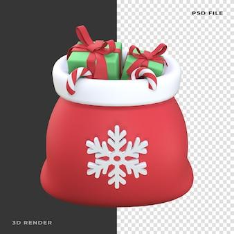 Bolsa de santa 3d con caja de regalo candy cane en fondo transparente