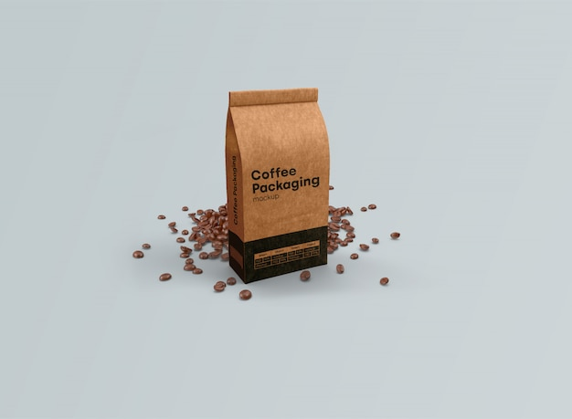 Bolsas de café maqueta gravedad psd