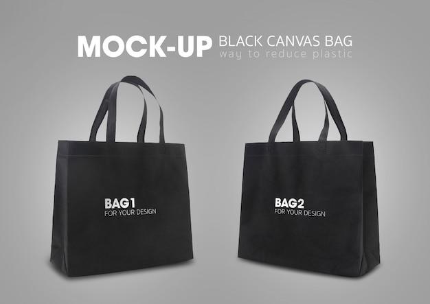Las bolsas de la compra con asas negras maqueta