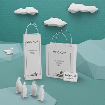 Bolsas de papel del día del océano con maqueta