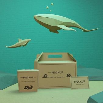 Bolsas de papel kraft con animales bajo el agua