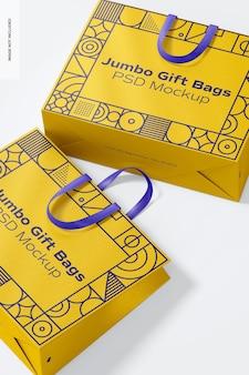Bolsas de regalo gigantes con maqueta de asa de cinta, primer plano