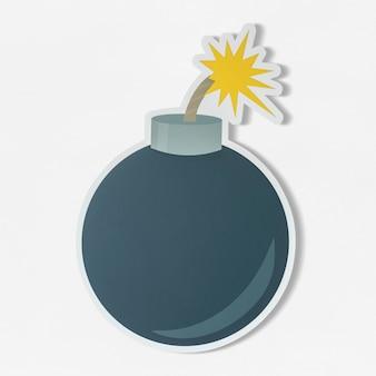 Bomba explosiva con icono de mecha ardiente