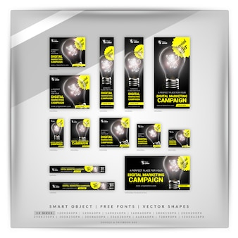 Bombilla de marketing digital google banner set