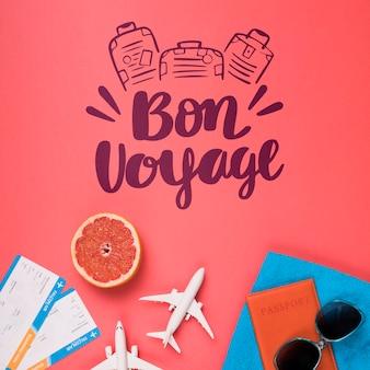 Bon voyage, buen viaje. lettering o frase emotiva sobre viajar en vacaciones