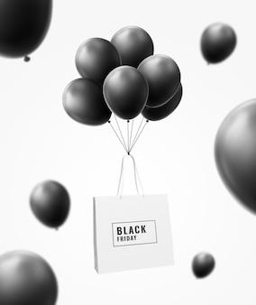 Boodschappentas vliegen met ballon black friday-mockup