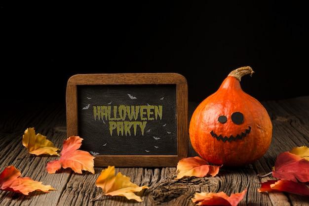 Bord met halloween krijt bericht