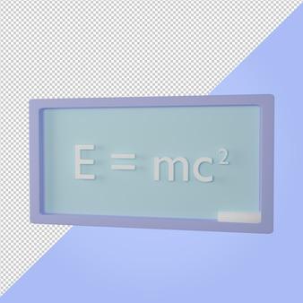Bord met kracht natuurkunde formule onderwijs pictogram 3d render