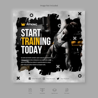 Borstel fitness en gym workout sociale media instagram-post of vierkante flyer