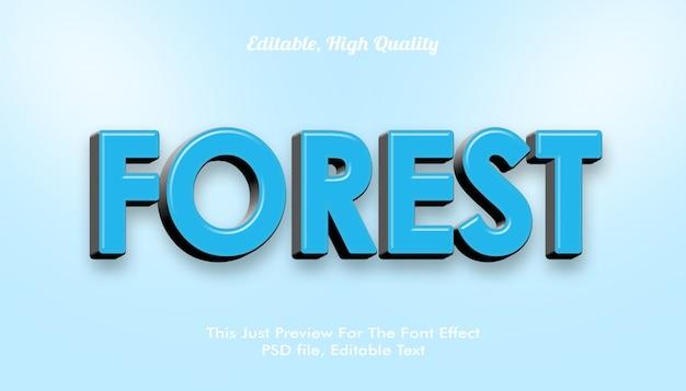 Bosque, efecto de fuente moderna 3d de estilo moderno