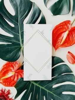 Botánico tropical con una maqueta de tarjeta.