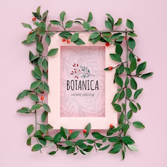 Botanische bladeren en frame met mock-up