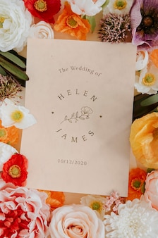 Botanische bruiloft uitnodigingskaart mockup