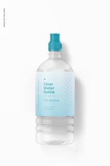 Botella de agua con maqueta de gorra deportiva, vista superior