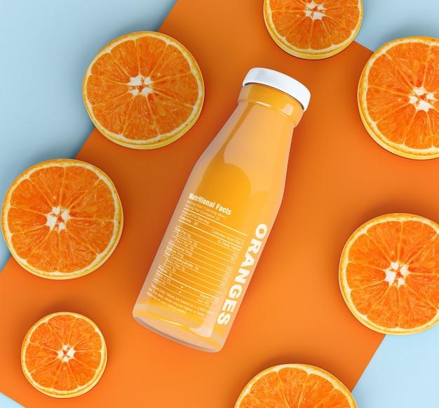 Botella aislada de zumo de fruta y rodajas de naranja