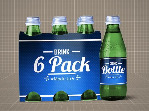 Botella de bebida y paquete de 6 mock up v.1