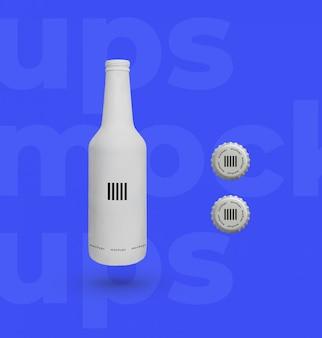 Botella de cerveza con tapas blancas maqueta
